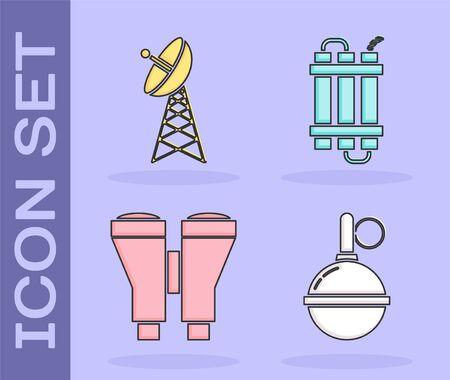 Set Hand grenade , Radar , Binoculars  and Detonate dynamite bomb stick icon. Vector Ilustração