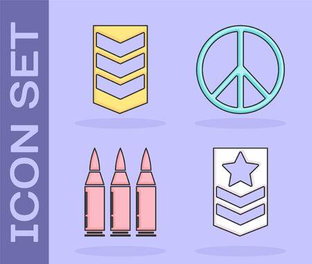 Set Chevron , Military rank , Bullet  and Peace  icon. Vector