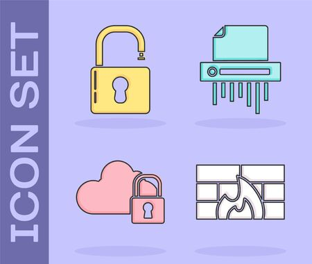 Set Firewall, security wall , Open padlock , Cloud computing lock and Paper shredder confidential icon. Vector