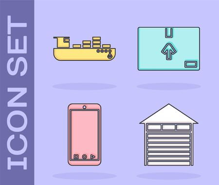 Set Closed warehouse , Cargo ship with boxes delivery service , Mobile phone with app delivery tracking and Cardboard box with traffic symbol icon. Vector
