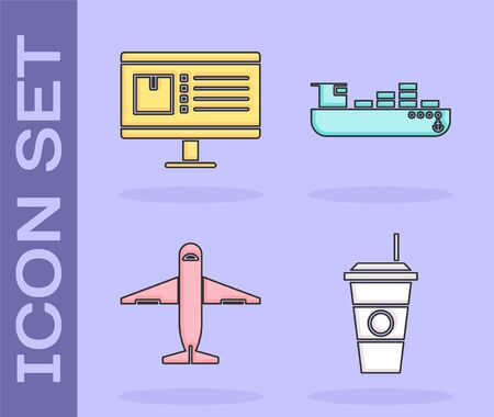 Set Coffee cup , Computer monitor with app delivery tracking , Plane and Cargo ship with boxes delivery service icon. Vector Illustration