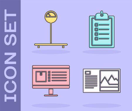Set Postcard , Scale , Computer monitor with app delivery tracking and Verification of delivery list clipboard icon. Vector