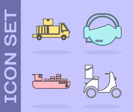 Set Scooter delivery , Delivery truck with cardboard boxes, Cargo ship with boxes delivery service and Support operator in touch icon. Vector Illustration