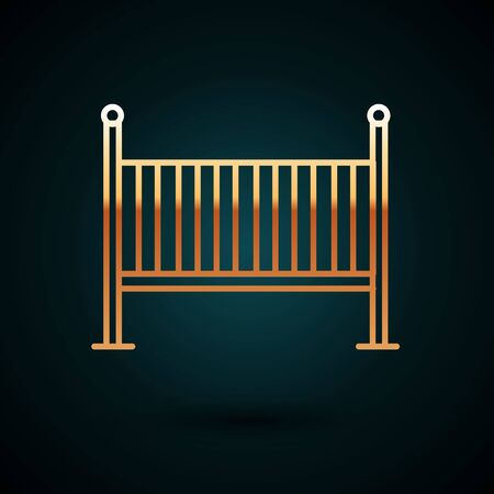 Gold line Baby crib cradle bed icon isolated on dark blue background. Vector Illustration
