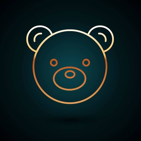 Gold line Teddy bear plush toy icon isolated on dark blue background. Vector Illustration