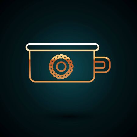 Gold line Baby potty icon isolated on dark blue background. Chamber pot. Vector Illustration Illustration