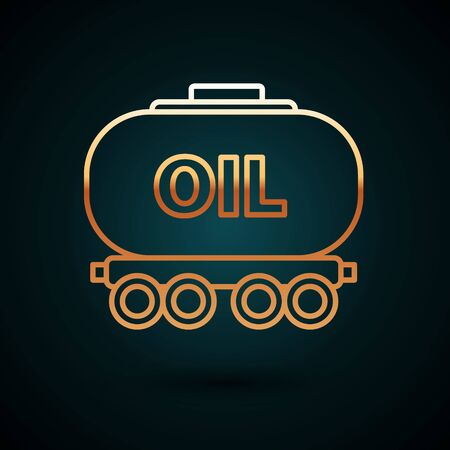 Gold line Oil railway cistern icon isolated on dark blue background. Train oil tank on railway car. Rail freight. Oil industry. Vector Illustration