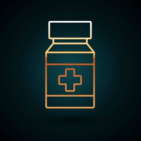 Gold line Dog medicine bottle and pills icon isolated on dark blue background. Container with pills. Prescription medicine for animal. Vector Illustration