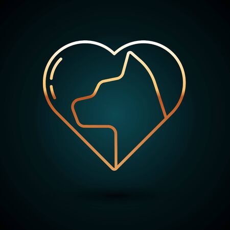 Gold line Heart with cat icon isolated on dark blue background. Love to the animals. Vector Illustration