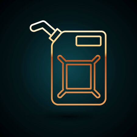 Gold line Canister for gasoline icon isolated on dark blue background. Diesel gas icon. Vector Illustration