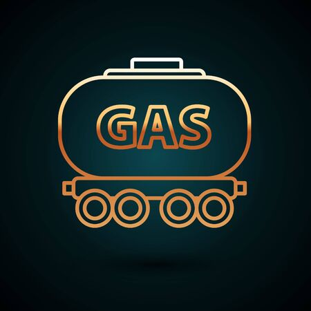 Gold line Gas railway cistern icon isolated on dark blue background. Train gasoline tank on railway car. Rail freight. Vector Illustration Stock Illustratie