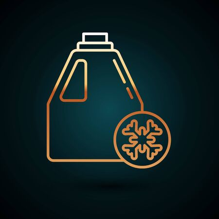 Gold line Antifreeze canister icon isolated on dark blue background. Auto service. Car repair. Vector Illustration