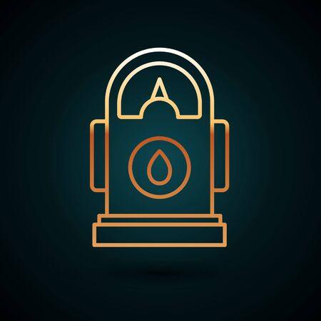 Gold line Petrol or Gas station icon isolated on dark blue background. Car fuel symbol. Gasoline pump. Vector Illustration Ilustracja