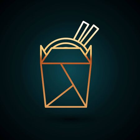 Gold line Asian noodles in paper box and chopsticks icon isolated on dark blue background. Street fast food. Korean, Japanese, Chinese food. Vector Illustration