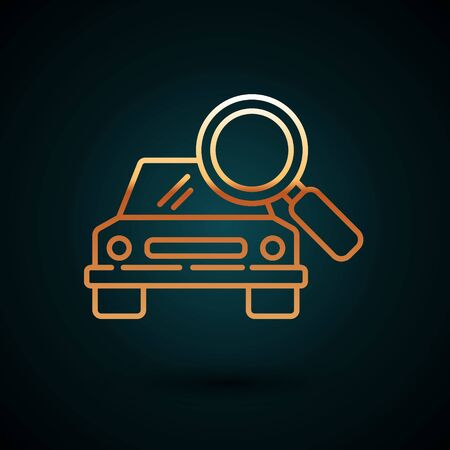 Gold line Car search icon isolated on dark blue background. Magnifying glass with car. Vector Illustration