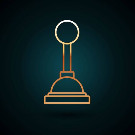 Gold line Gear shifter icon isolated on dark blue background. Manual transmission icon. Vector Illustration Illustration
