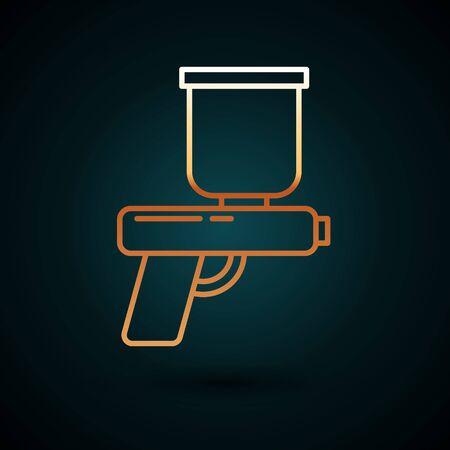Gold line Paint spray gun icon isolated on dark blue background. Vector Illustration