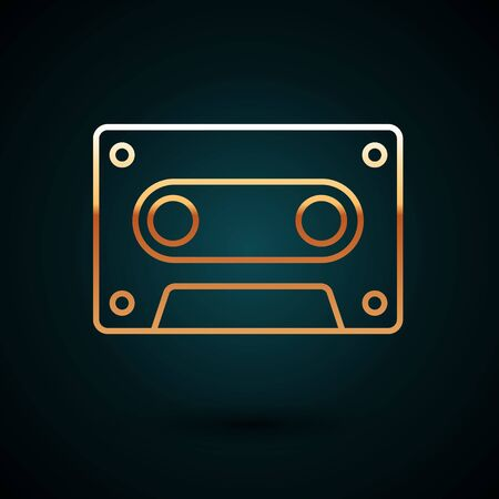 Gold line Retro audio cassette tape icon isolated on dark blue background. Vector Illustration