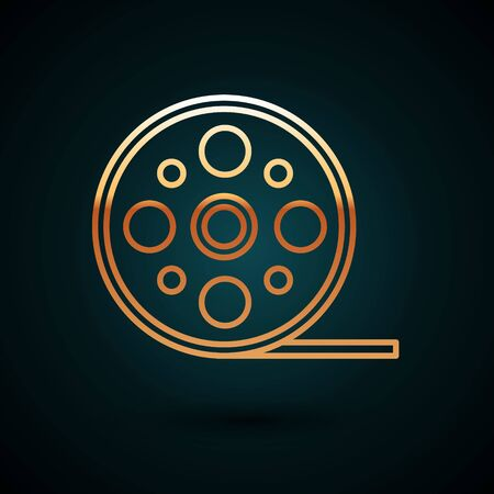 Gold line Film reel icon isolated on dark blue background. Vector Illustration