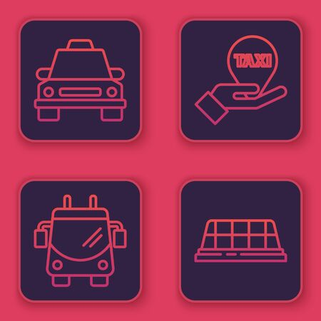 Set line Taxi car, Trolleybus, Hand on map pointer with taxi and Taxi car roof. Blue square button. Vector