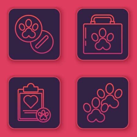 Set line Dog and pills, Clipboard with medical clinical record pet, Pet first aid kit and Paw print. Blue square button. Vector Vettoriali