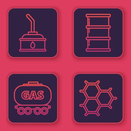 Set line Canister for motor machine oil, Gas railway cistern, Barrel oil and Chemical formula consisting of benzene rings. Blue square button. Vector Stock Illustratie