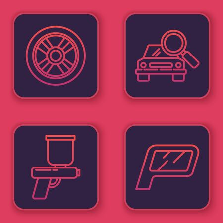 Set line Car wheel, Paint spray gun, Car search and Car mirror. Blue square button. Vector Ilustrace