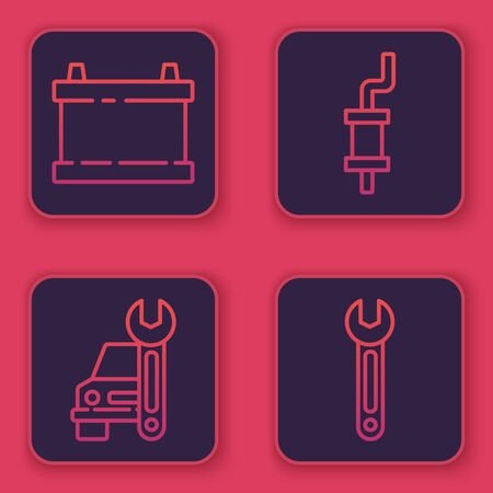 Set line Car battery, Car service, Car muffler and Wrench. Blue square button. Vector