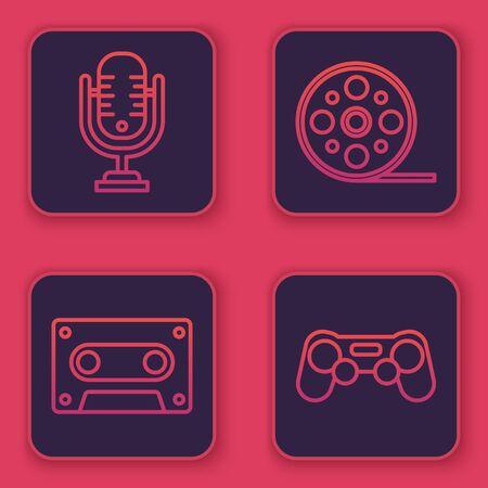 Set line Microphone, Retro audio cassette tape, Film reel and Gamepad. Blue square button. Vector Çizim