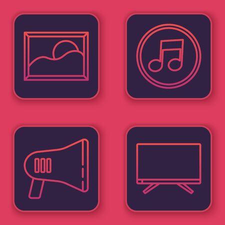 Set line Picture landscape, Megaphone, Music note, tone and Smart Tv. Blue square button. Vector