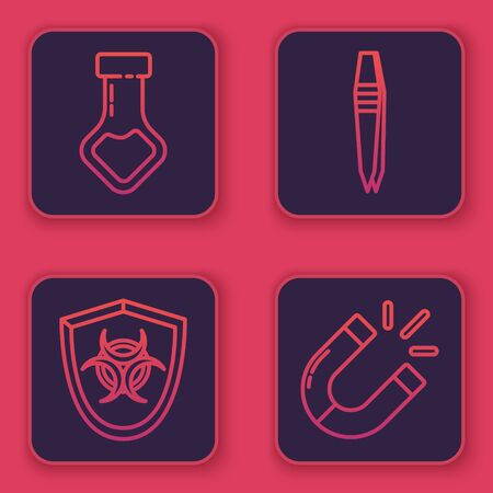 Set line Test tube and flask chemical, Biohazard symbol on shield, Tweezers and Magnet. Blue square button. Vector