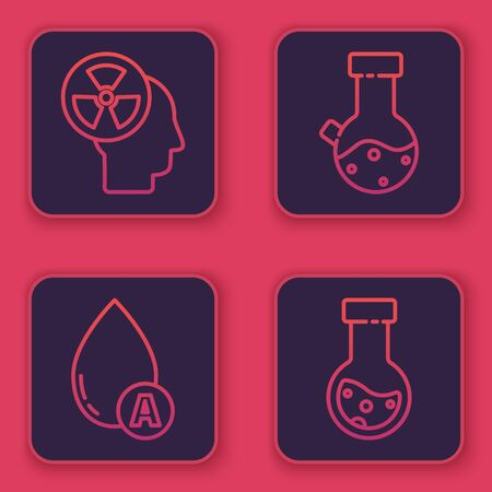 Set line Human head and a radiation, Water drop, Test tube and flask chemical and Test tube and flask chemical. Blue square button. Vector 일러스트