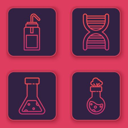 Set line Laboratory wash bottle, Test tube and flask chemical, DNA symbol and Test tube and flask chemical. Blue square button. Vector
