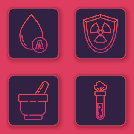 Set line Water drop, Mortar and pestle, Radioactive in shield and Test tube and flask chemical. Blue square button. Vector