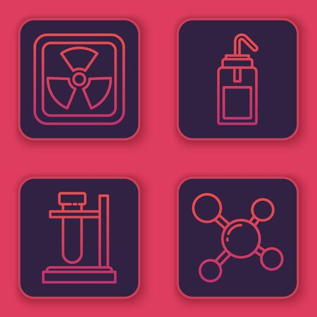 Set line Radioactive, Test tube flask on stand, Laboratory wash bottle and Molecule. Blue square button. Vector