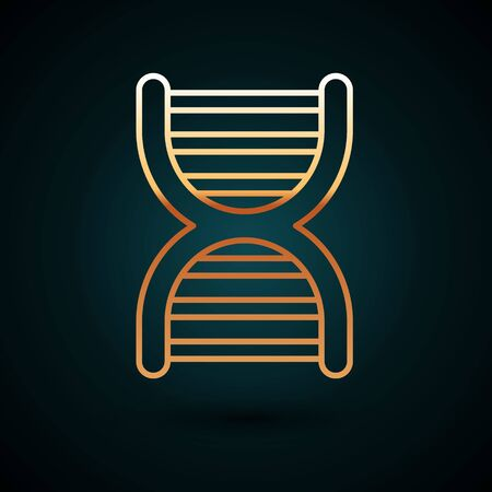 Gold line DNA symbol icon isolated on dark blue background. Vector Illustration