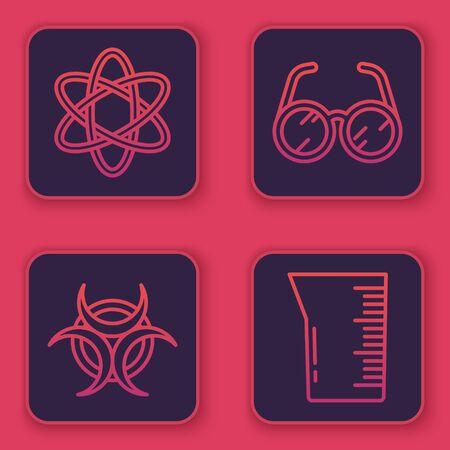 Set line Atom, Biohazard symbol, Laboratory glasses and Laboratory glassware or beaker. Blue square button. Vector Çizim