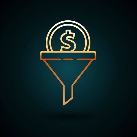 Gold line Lead management icon isolated on dark blue background. Funnel with money. Target client business concept. Vector Illustration