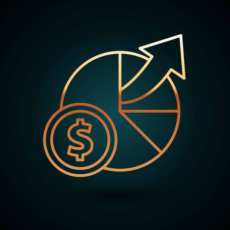 Gold line Money and diagram graph icon isolated on dark blue background. Financial analytics, budget planning, finance managemen. Vector Illustration