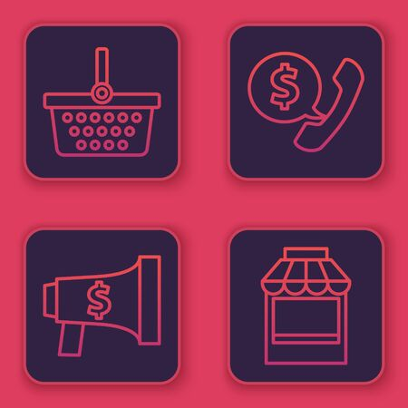 Set line Shopping basket, Megaphone and dollar, Telephone handset and speech bubble chat and Shopping building or market store. Blue square button. Vector