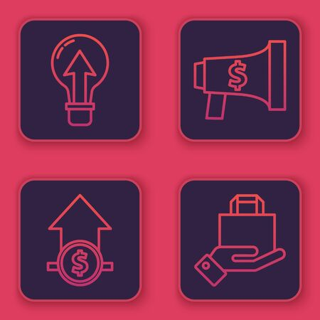 Set line Light bulb, Financial growth and coin, Megaphone and dollar and Hand and paper shopping bag. Blue square button. Vector