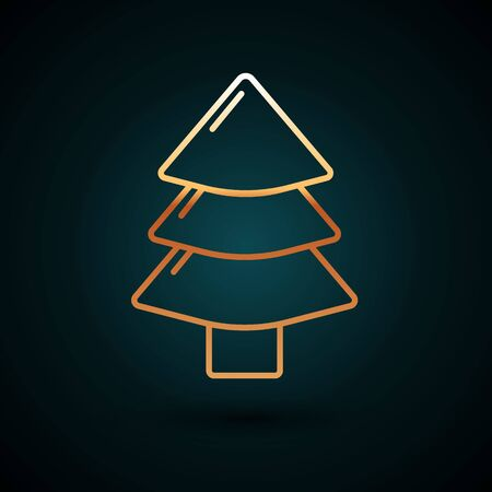 Gold line Christmas tree icon isolated on dark blue background. Merry Christmas and Happy New Year. Vector Illustration