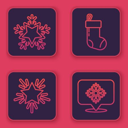 Set line Snowflake, Christmas star, Christmas stocking and Snowflake with speech bubble. Blue square button. Vector