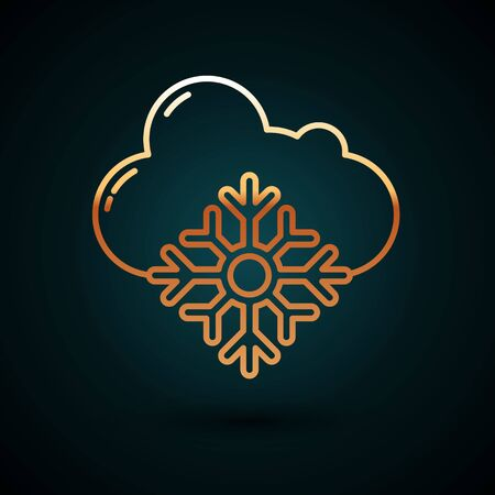 Gold line Cloud with snow icon isolated on dark blue background. Cloud with snowflakes. Single weather icon. Snowing sign. Vector Illustration 일러스트