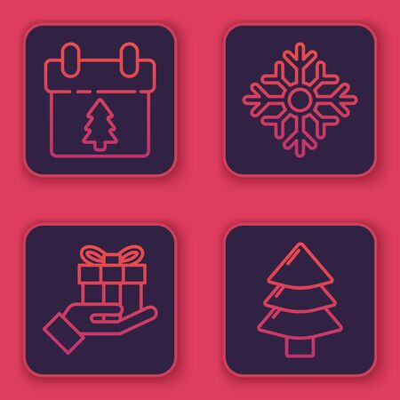 Set line Calendar, Gift box in hand, Snowflake and Christmas tree. Blue square button. Vector Ilustração
