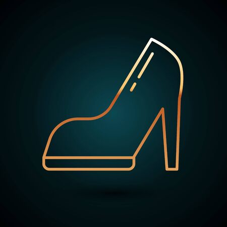 Gold line Woman shoe with high heel icon isolated on dark blue background. Vector Illustration