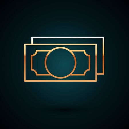 Gold line Stacks paper money cash icon isolated on dark blue background. Money banknotes stacks. Bill currency. Vector Illustration