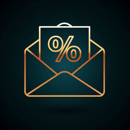 Gold line Envelope with an interest discount from the store icon isolated on dark blue background. Vector Illustration 일러스트