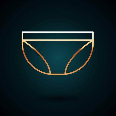 Gold line Underwear icon isolated on dark blue background. Vector Illustration