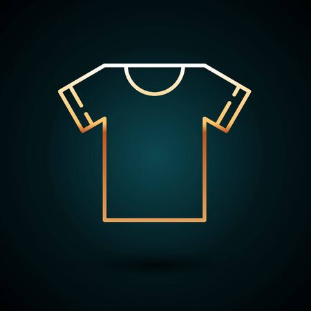 Gold line T-shirt icon isolated on dark blue background. Vector Illustration